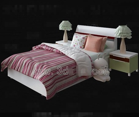 rosa und wei e bettw sche kinderbett 3d model download free 3d models download. Black Bedroom Furniture Sets. Home Design Ideas